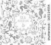 cartoon marine background.... | Shutterstock .eps vector #165114554