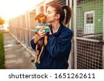 Young Woman In Dog Shelter...