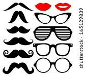 vector set of hipster mustache... | Shutterstock .eps vector #165129839