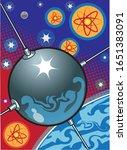 satellite orbiting earth with... | Shutterstock .eps vector #1651383091
