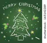christmas drawing on chalkborad | Shutterstock .eps vector #165142289