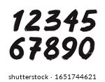 black vector handdraw numbers... | Shutterstock .eps vector #1651744621