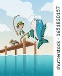 Cartoon Boy Fishing On Wooden...