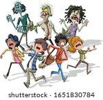 cartoon kids running from... | Shutterstock .eps vector #1651830784