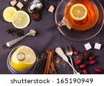 cup of tea with lemon and... | Shutterstock . vector #165190949