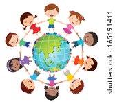 globe kids. international... | Shutterstock .eps vector #165191411