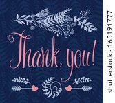 thank you card with heart ...   Shutterstock .eps vector #165191777