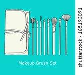 makeup brush set  on a blue... | Shutterstock .eps vector #165193091