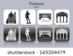Landmarks of Florence. Set of monochrome icons. Editable vector illustration. - stock vector