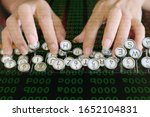 Small photo of Abstract background of innovation of data management and technology concept. big data management for business. the hand of woman is typing on keyboard with binary background unix command green digits