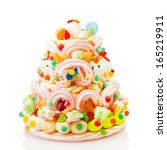 Jelly Beans Cake Isolated On...