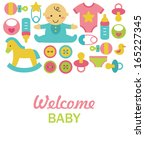 newborn card design. vector... | Shutterstock .eps vector #165227345
