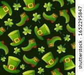 leprechaun green hats and shoes ... | Shutterstock .eps vector #1652295847