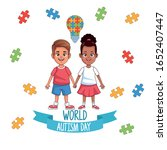 world autism day kids couple... | Shutterstock .eps vector #1652407447