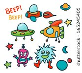 set of space ship and cute... | Shutterstock . vector #165245405