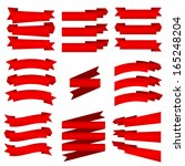 the collection of red ribbons ... | Shutterstock .eps vector #165248204