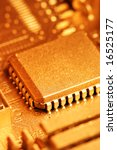 gold circuit board with chip.... | Shutterstock . vector #16525177