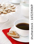 Coffee and gingerbread cookies                 - stock photo