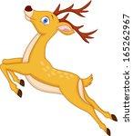Cute deer cartoon jumping - stock vector