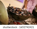 Mussels In A Pan. Mussels In A...