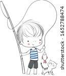 boy fisherman with fishing rod... | Shutterstock .eps vector #1652788474