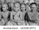 Small photo of Varanasi, Uttar Pradesh - April 23 2019 : Black and white photo of Young boys who have devoted their life to Sankaracharya are the ardent devotees of Shiva seen in the ghats of varanasi or benaras .