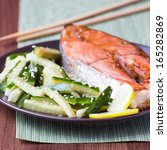 red fish grilled salmon with... | Shutterstock . vector #165282869