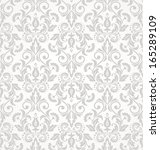 Stock vector wallpaper in the style of baroque a seamless vector background gray and white texture 165289109