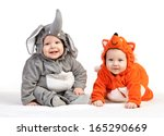 Two Baby Boys Dressed In Anima...