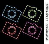 photo camera glowing neon ui ux ...