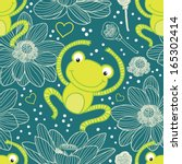 Stock vector cute frog blue seamless pattern 165302414