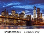 brooklyn bridge and manhattan... | Shutterstock . vector #165303149