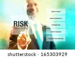 Small photo of Business risk management concept man pointing interface