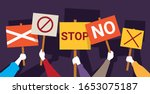 protesters hands holding peace... | Shutterstock .eps vector #1653075187