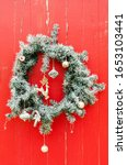 christmas wreath in gray color... | Shutterstock . vector #1653103441