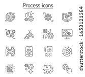 processing icons set in thin... | Shutterstock .eps vector #1653121384