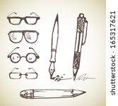 vector set of hand drawn pens... | Shutterstock .eps vector #165317621