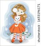 christmas  new year little girl ... | Shutterstock .eps vector #1653196171