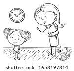 mother scolding her upset... | Shutterstock .eps vector #1653197314