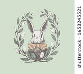 Cute White Rabbit In A Frame Of ...