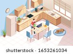 remote worker at kitchen doing... | Shutterstock .eps vector #1653261034
