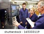 engineer teaching apprentices... | Shutterstock . vector #165333119