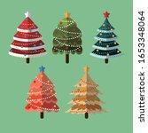 color flat christmas tree... | Shutterstock .eps vector #1653348064