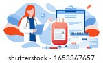 donating blood in donation bag. ... | Shutterstock .eps vector #1653367657