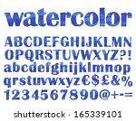 handwritten blue font.... | Shutterstock .eps vector #165339101