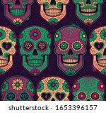 mexican sugar skulls seamless... | Shutterstock .eps vector #1653396157
