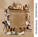 ancient egypt background. old... | Shutterstock .eps vector #1653414631
