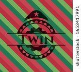 twin christmas emblem. vector... | Shutterstock .eps vector #1653417991