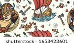 Vikings Seamless Pattern. Old...