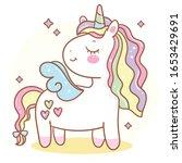cute unicorn angel vector pony... | Shutterstock .eps vector #1653429691